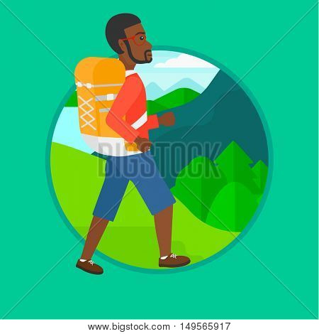 An african-american man hiking in mountains. Traveler with backpack mountaineering. Hiking man with backpack walking outdoor. Vector flat design illustration in the circle isolated on background.