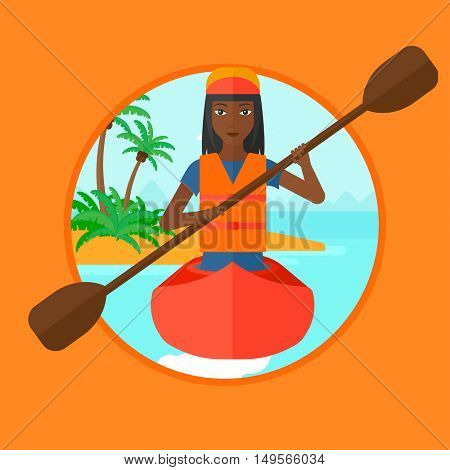 An african sports woman riding in a kayak in the sea. Woman traveling by kayak. Young kayaker paddling. Woman paddling a canoe. Vector flat design illustration in the circle isolated on background.