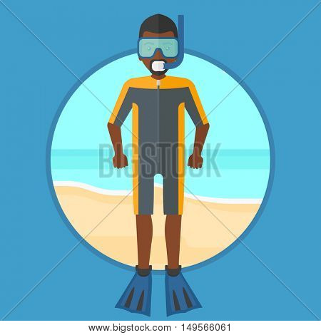 An african-american scuba diver in diving suit, flippers, mask and tube standing on the beach. Young man enjoying snorkeling. Vector flat design illustration in the circle isolated on background.