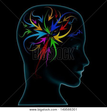 Abstract thought, illustration of arrows on brain