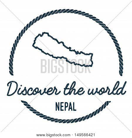 Nepal Map Outline. Vintage Discover The World Rubber Stamp With Nepal Map. Hipster Style Nautical Ru