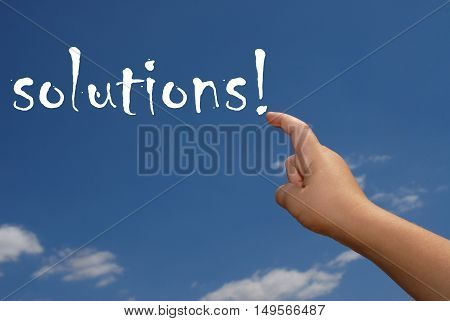hand indicate the word. Solutions on sky