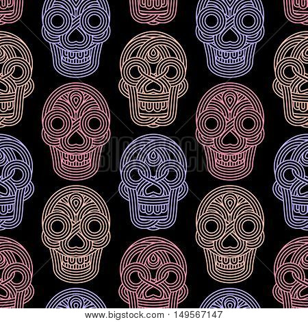 Seamless Pattern Made Of Skulls On Black Background