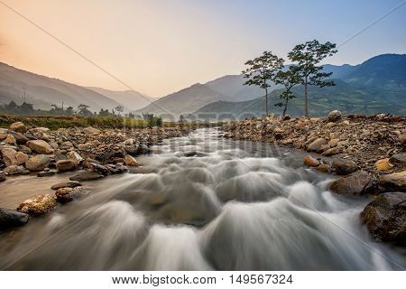 River in Tu le scenic streams fields of grain side highland Tu le Yen Bai Vietnam