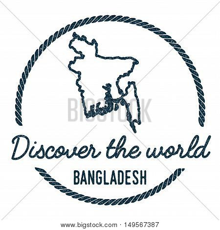 Bangladesh Map Outline. Vintage Discover The World Rubber Stamp With Bangladesh Map. Hipster Style N