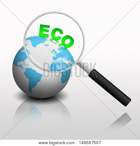 magnifying glass on ecological earth illustration, isolated on white