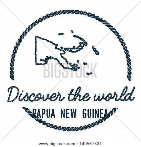 Papua New Guinea Map Outline. Vintage Discover The World Rubber Stamp With Papua New Guinea Map. Hip
