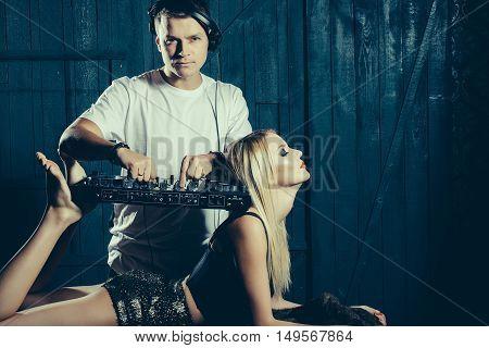 Dj Man Playing Mixer