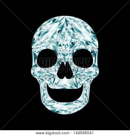 Diamond crystal smiling skull on black background
