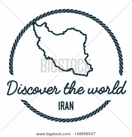 Iran, Islamic Republic Of Map Outline.. Vintage Discover The World Rubber Stamp With Iran, Islamic R