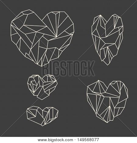 Set Of Mineral Heart-shaped Crystals On Grey Background
