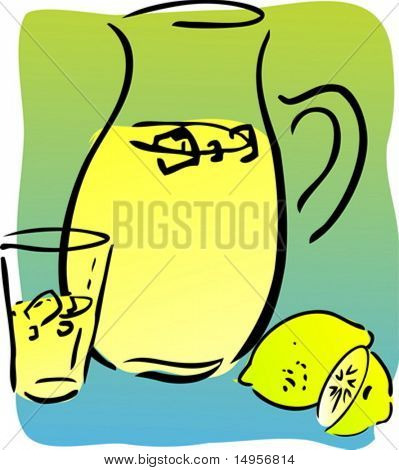 Lemonade and lemons, retro hand-drawn style. Lemon and lemon slices, pitcher and glass of lemonade