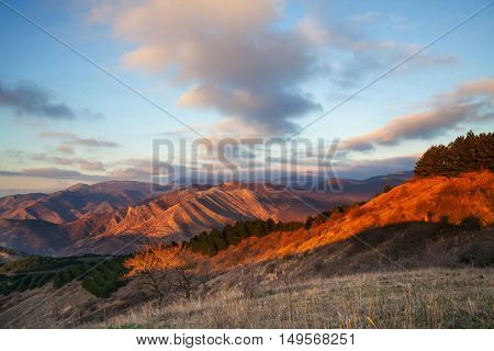 Mountains landscape in autumn season at sunrise.Crimea mountains.