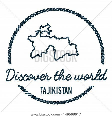 Tajikistan Map Outline. Vintage Discover The World Rubber Stamp With Tajikistan Map. Hipster Style N