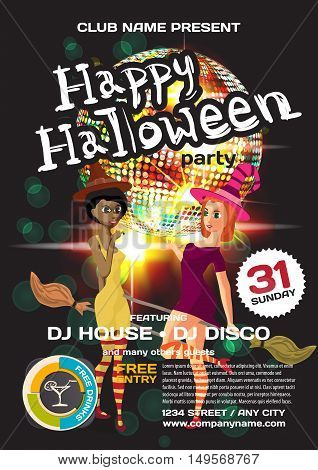 Vector helloween party invitation disco style. Night club dj women disco ball template posters or flyers.