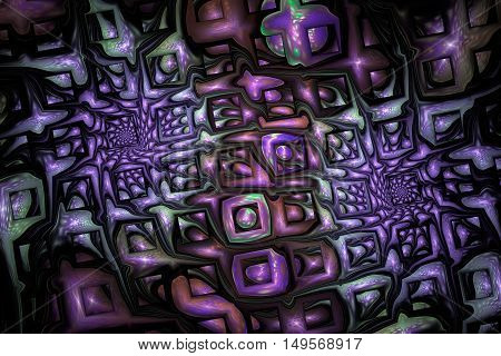 Abstract fantasy ornament on black background. Colorful fractal design in brown green and violet colors.