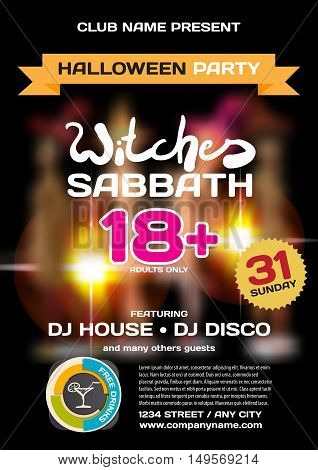 Vector private helloween party invitation disco style. Girls in the show is not in focus. Template posters or flyers