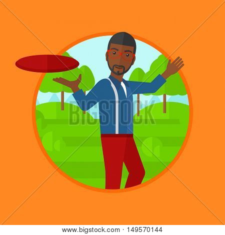 An african-american man playing flying disc in the park. Man throwing a flying disc. Sportsman catching flying disc outdoors. Vector flat design illustration in the circle isolated on background.