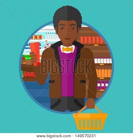 An african-american man holding a shopping basket in one hand and a tube of cream in another. Customer shopping at supermarket. Vector flat design illustration in the circle isolated on background.