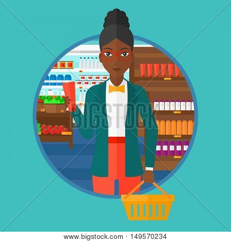 An african-american woman holding a shopping basket in one hand and a tube of cream in another. Customer shopping at supermarket. Vector flat design illustration in the circle isolated on background.