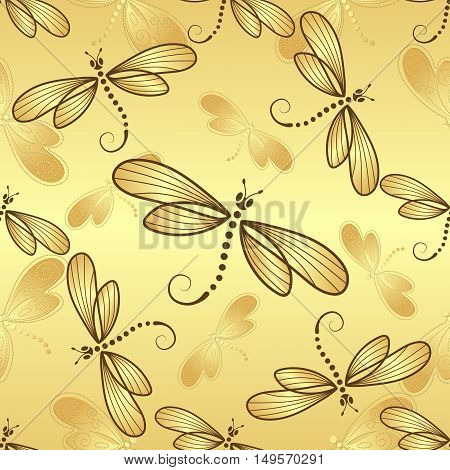 Seamless pattern with gold gradient dragonflies on a gold background vector