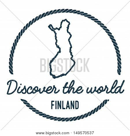 Finland Map Outline. Vintage Discover The World Rubber Stamp With Finland Map. Hipster Style Nautica