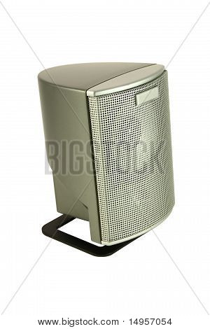 Silver grid speaker top side