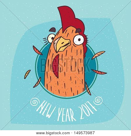 Close-up of cartoon playful or rooster smiles in round frame on blue background. New Year 2017 lettering