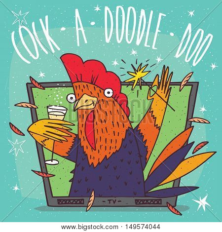 Cartoon festive or rooster in TV frame holding glass of champagne and sparkler. Blue background and Cock a doodle doo lettering