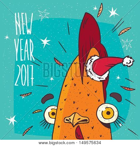 Cartoon from close-up of portrait funny and surprised or rooster with santa hat on blue background. New Year 2017 inscription
