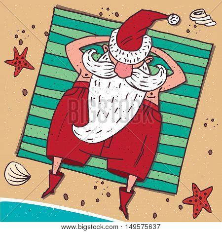 Cartoon carefree Santa Claus in red lying on the beach by the sea and sunbathing. Around the sand starfish and seashell. View from above