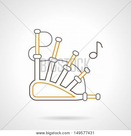 Symbol of traditional bagpipe and note. Reed wind musical instrument. Web elements for music store. Black and yellow flat line vector icon.