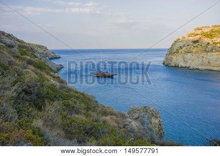 beautiful view of the sea in the bay of Faliraki in Rhodes
