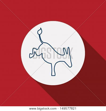 Donkey icon. Animal and nature theme. Silhouette design. Red background. Vector illustration