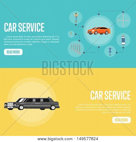 Flat horizontal banners car repair service concept vector illustration