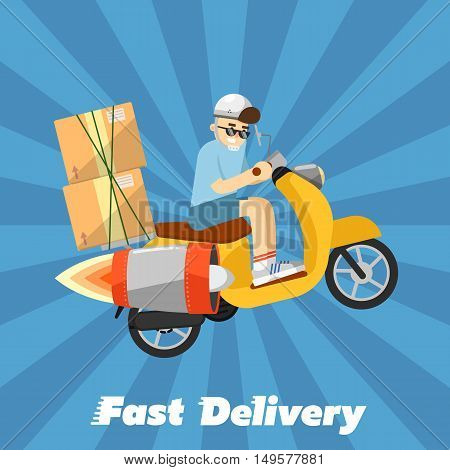 Delivery boy riding yellow scooter with jet engine and cardboard boxes isolated on striped blue background. Fast delivery banner, vector illustration. Motorcycle courier service.
