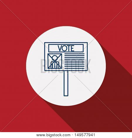 Card paper icon. Vote election nation and government theme. Red background. Vector illustration