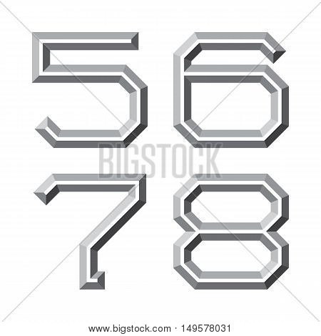 Five six seven eight gray faceted numbers. Prismatic retro font.