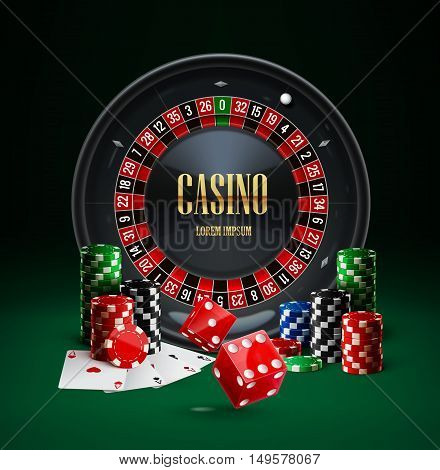 Illustartion of roulette casino chips red dice realistic objects