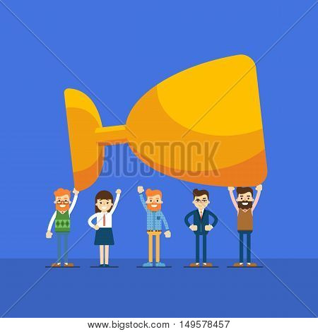 Group of business people holding winner trophy, isolated vector illustration on blue background. Business success banner. Win concept. Collaboration and partnership, working together. Business team