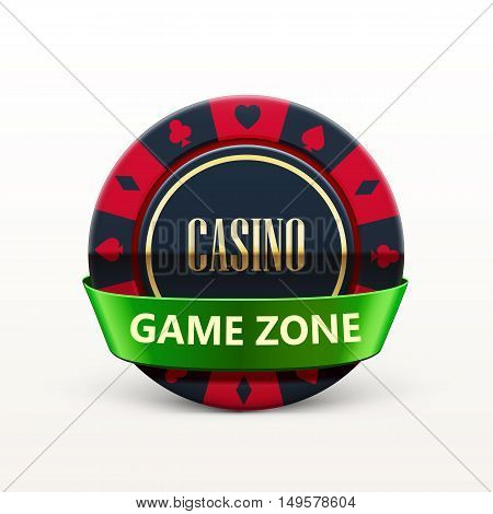 vector illustration of casino chip with ribbon and place for text isolated on white