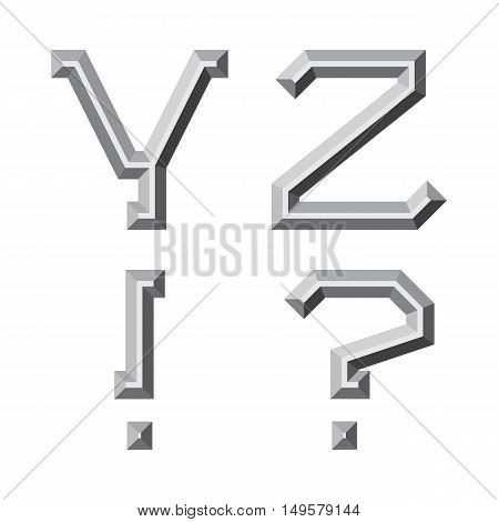 Y Z gray faceted letters exclamation and question marks. Prismatic retro font.