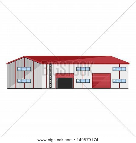 Warehouse exterior isolated on white background flat vector illustration