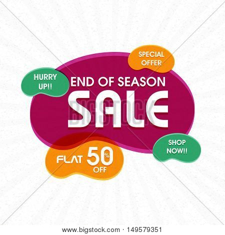 End of Season Sale, Special Offer Flyer, Banner, Poster with Flat 50% Off - Shop Now.