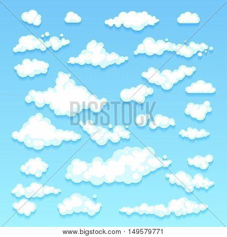 Set Of Blue Sky, Clouds. Icon Shape. Different. Collection Label, Symbol. Graphic Element Vector. De