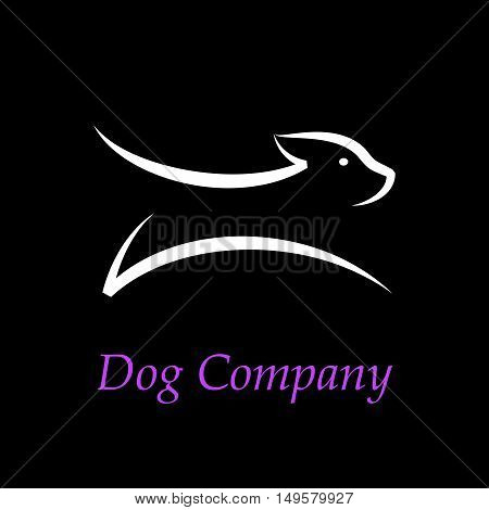 Vector sign abstract Dog running, isolated in black