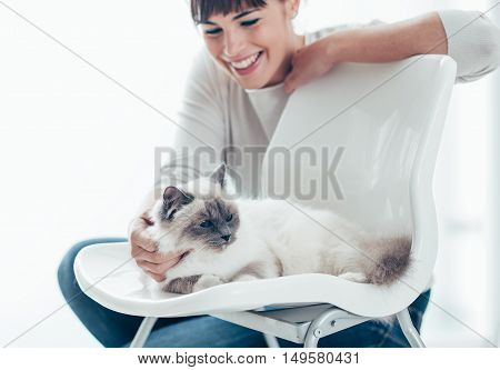 Woman With Her Lovely Cat At Home