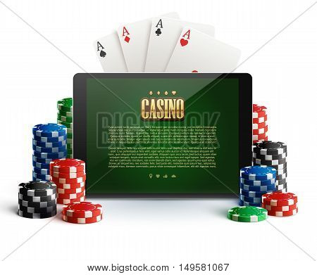 illustartion of casino chips and mobile isolated on white