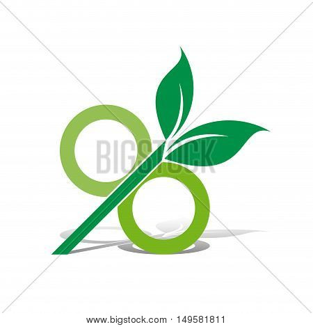 Vector sign energy saving, isolated in white