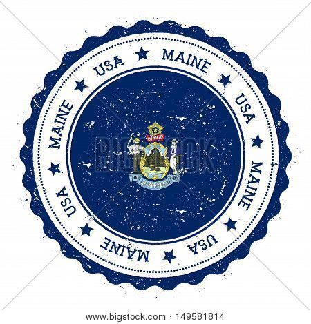 Maine Flag Badge. Grunge Rubber Stamp With Maine Flag. Vintage Travel Stamp With Circular Text, Star